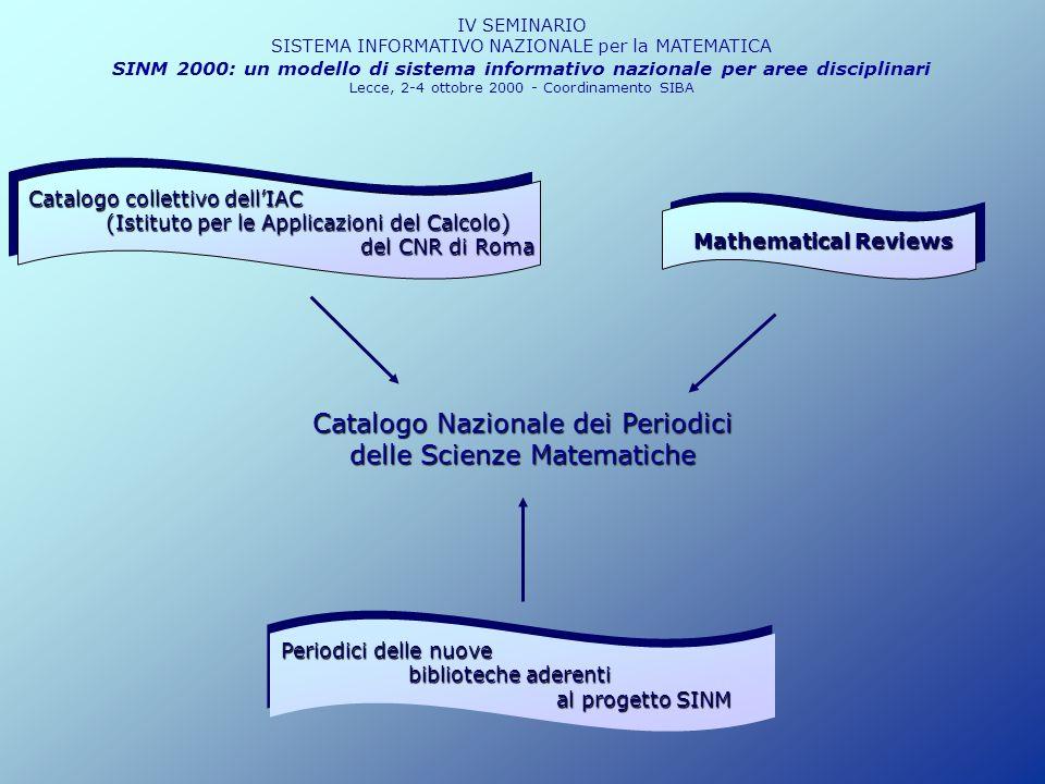 IV SEMINARIO SISTEMA INFORMATIVO NAZIONALE per la MATEMATICA SINM 2000: un modello di sistema informativo nazionale per aree disciplinari Lecce, 2-4 ottobre 2000 - Coordinamento SIBA - Accorpamento di istituti e dipartimenti - Costituzione di centri interdipartimentali e biblioteche darea Ampliamento e arricchimento del catalogo, direttamente on-line, con nuove descrizioni bibliografiche e nuove consistenze di periodici inerenti anche le scienze fisiche, informatiche e tecnologiche.