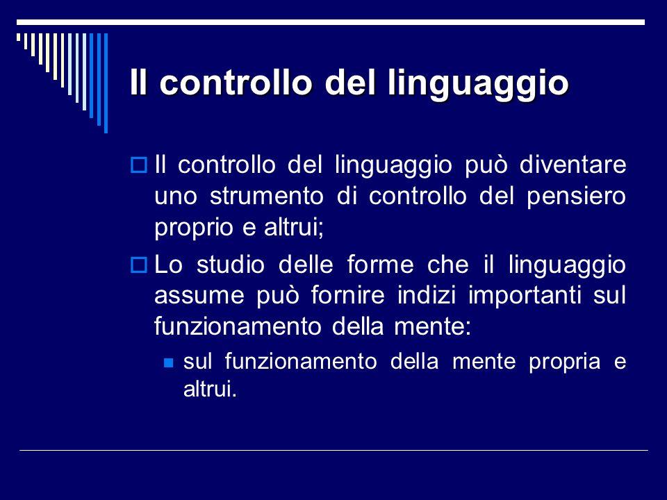 Il controllo del linguaggio Il controllo del linguaggio può diventare uno strumento di controllo del pensiero proprio e altrui; Lo studio delle forme