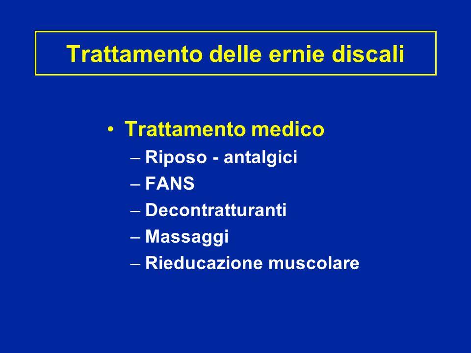 Trattamento delle ernie discali Trattamento medico –Riposo - antalgici –FANS –Decontratturanti –Massaggi –Rieducazione muscolare
