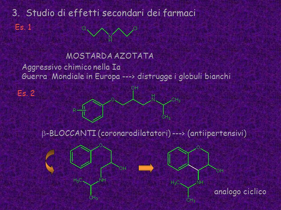 3.Studio di effetti secondari dei farmaci Es. 1 MOSTARDA AZOTATA -BLOCCANTI (coronarodilatatori) ---> (antiipertensivi) Aggressivo chimico nella Ia Gu