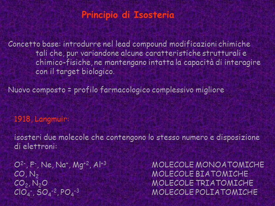Principio di Isosteria Concetto base: introdurre nel lead compound modificazioni chimiche tali che, pur variandone alcune caratteristiche strutturali