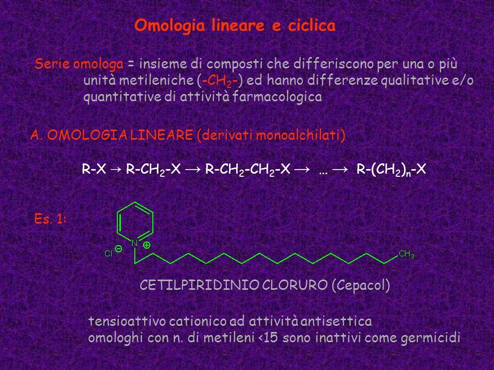 Omologia lineare e ciclica Serie omologa = insieme di composti che differiscono per una o più unità metileniche (-CH 2 -) ed hanno differenze qualitat