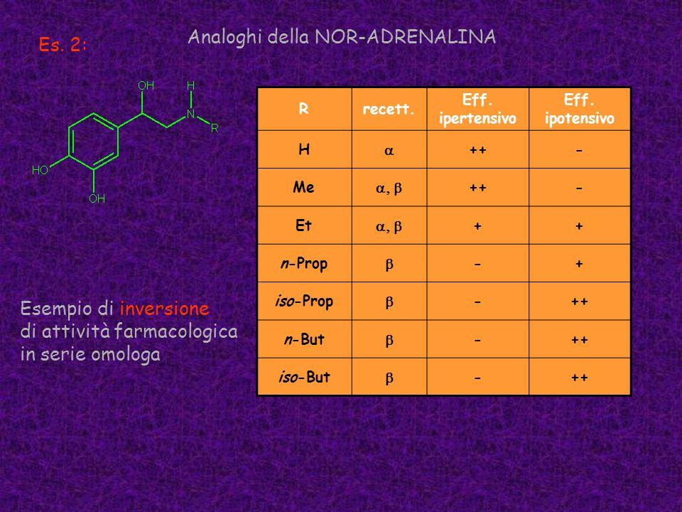 Es. 2: Analoghi della NOR-ADRENALINA Rrecett. Eff. ipertensivo Eff. ipotensivo H ++- Me ++- Et ++ n-Prop -+ iso-Prop -++ n-But -++ iso-But -++ Esempio