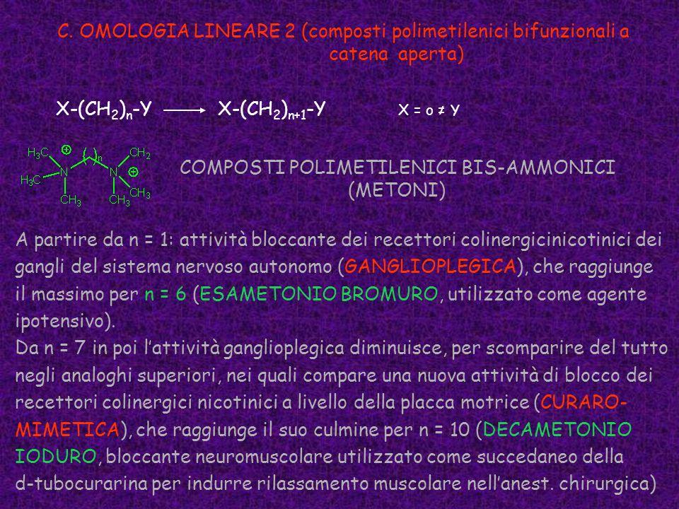 C. OMOLOGIA LINEARE 2 (composti polimetilenici bifunzionali a catena aperta) X-(CH 2 ) n -Y X-(CH 2 ) n+1 -Y X = o Y COMPOSTI POLIMETILENICI BIS-AMMON