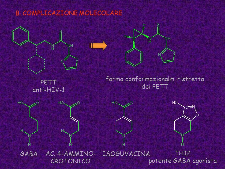 B. COMPLICAZIONE MOLECOLARE PETT anti-HIV-1 forma conformazionalm. ristretta dei PETT GABAISOGUVACINA THIP potente GABA agonista AC. 4-AMMINO- CROTONI