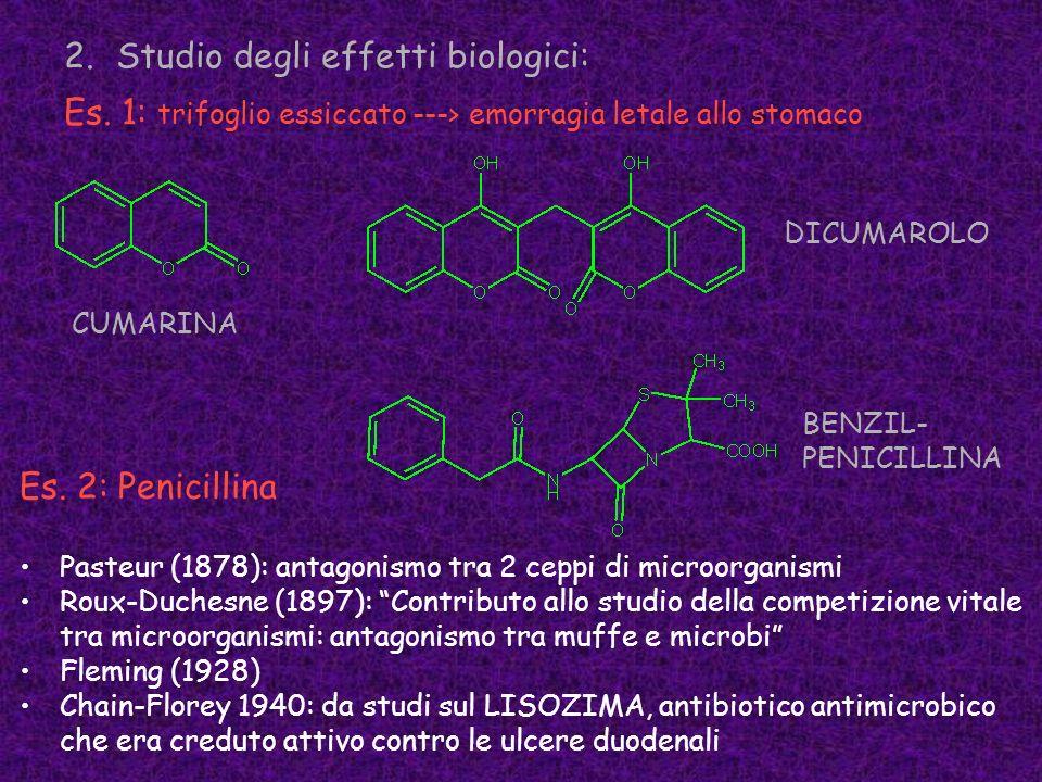 2.Studio degli effetti biologici: Es. 1: trifoglio essiccato ---> emorragia letale allo stomaco Es. 2: Penicillina Pasteur (1878): antagonismo tra 2 c