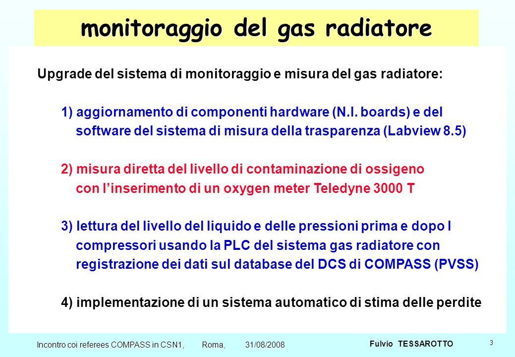3 Fulvio TESSAROTTO Incontro coi referees COMPASS in CSN1, Roma, 31/08/2008 monitoraggio del gas radiatore Upgrade del sistema di monitoraggio e misura del gas radiatore: 1) aggiornamento di componenti hardware (N.I.