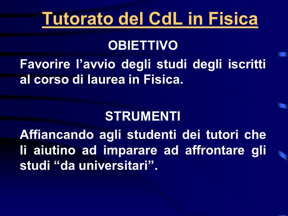 Tutorato del CdL in Fisica OBIETTIVO Favorire lavvio degli studi degli iscritti al corso di laurea in Fisica.