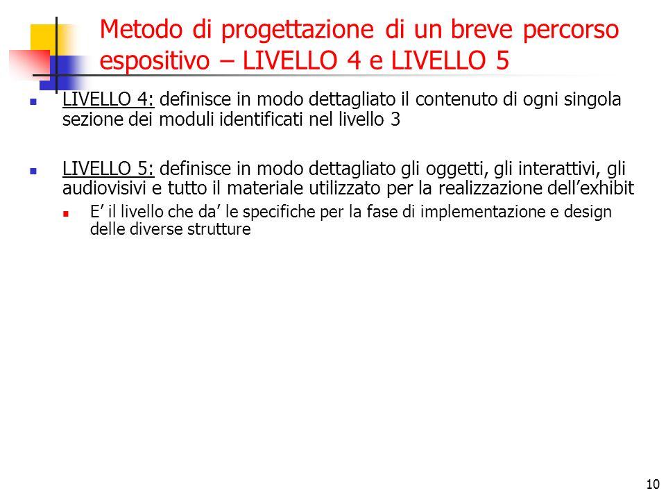 10 Metodo di progettazione di un breve percorso espositivo – LIVELLO 4 e LIVELLO 5 LIVELLO 4: definisce in modo dettagliato il contenuto di ogni singo
