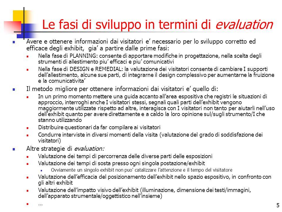 5 Le fasi di sviluppo in termini di evaluation Avere e ottenere informazioni dai visitatori e necessario per lo sviluppo corretto ed efficace degli ex