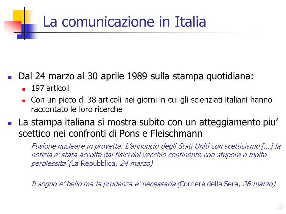 11 La comunicazione in Italia Dal 24 marzo al 30 aprile 1989 sulla stampa quotidiana: 197 articoli Con un picco di 38 articoli nei giorni in cui gli s