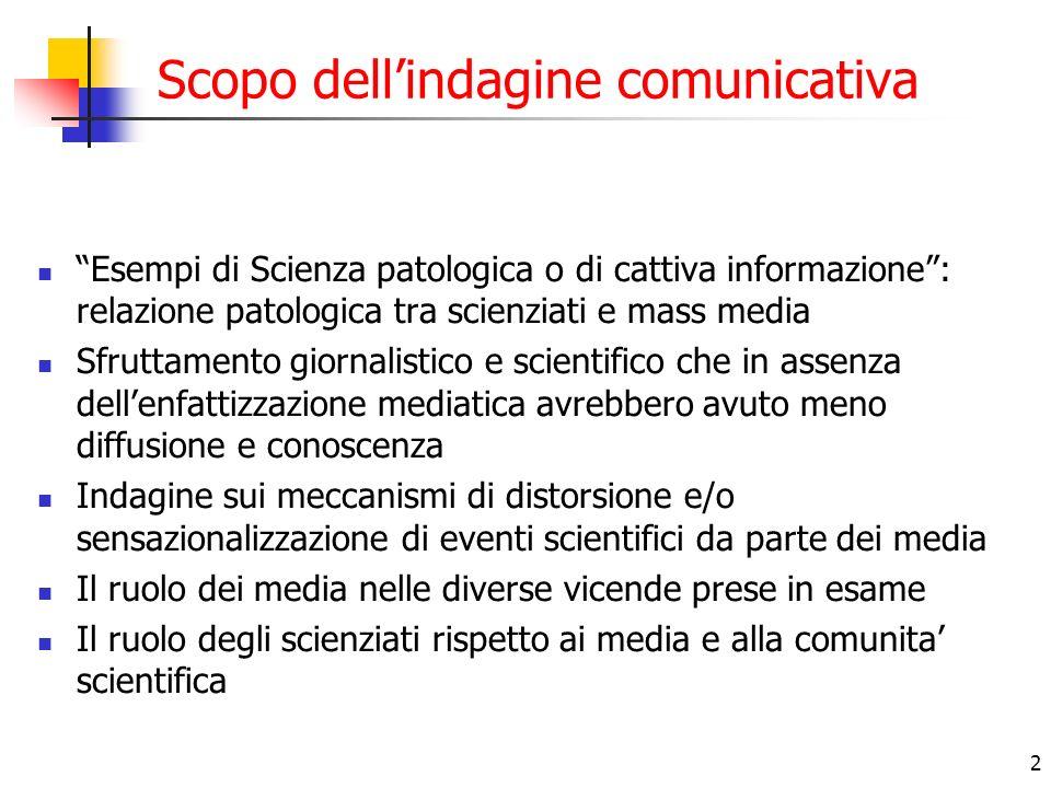 2 Scopo dellindagine comunicativa Esempi di Scienza patologica o di cattiva informazione: relazione patologica tra scienziati e mass media Sfruttament