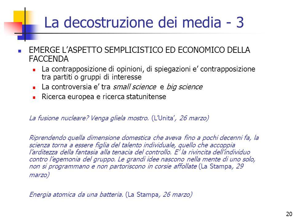 20 La decostruzione dei media - 3 EMERGE LASPETTO SEMPLICISTICO ED ECONOMICO DELLA FACCENDA La contrapposizione di opinioni, di spiegazioni e contrapp