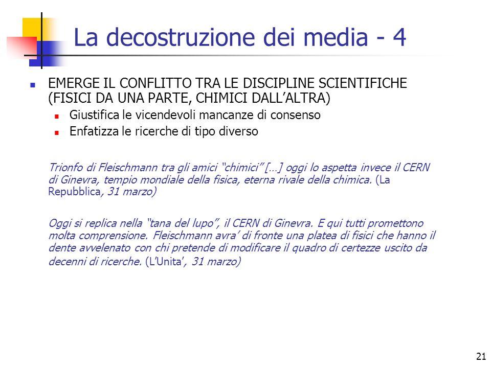 21 La decostruzione dei media - 4 EMERGE IL CONFLITTO TRA LE DISCIPLINE SCIENTIFICHE (FISICI DA UNA PARTE, CHIMICI DALLALTRA) Giustifica le vicendevol