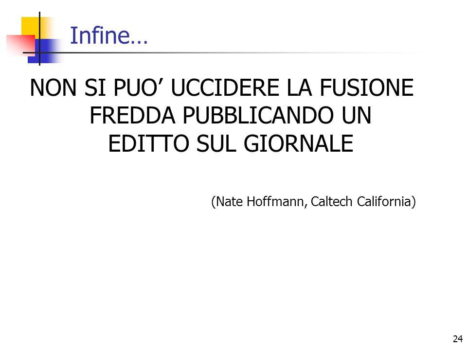 24 Infine… NON SI PUO UCCIDERE LA FUSIONE FREDDA PUBBLICANDO UN EDITTO SUL GIORNALE (Nate Hoffmann, Caltech California)