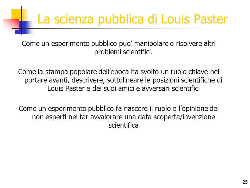 25 La scienza pubblica di Louis Paster Come un esperimento pubblico puo manipolare e risolvere altri problemi scientifici. Come la stampa popolare del