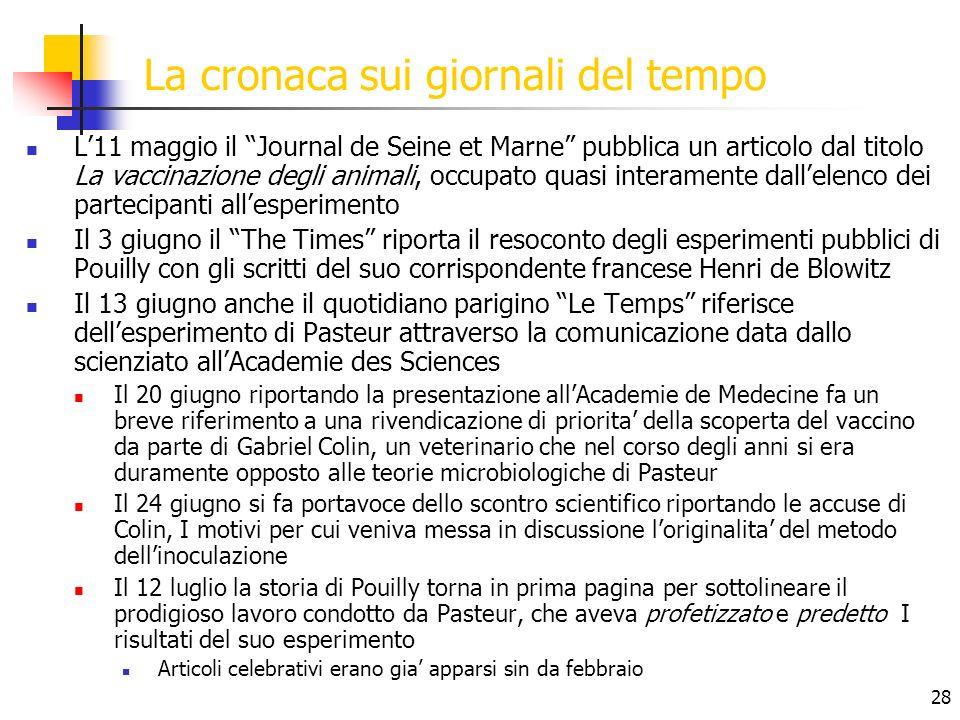 28 La cronaca sui giornali del tempo L11 maggio il Journal de Seine et Marne pubblica un articolo dal titolo La vaccinazione degli animali, occupato q