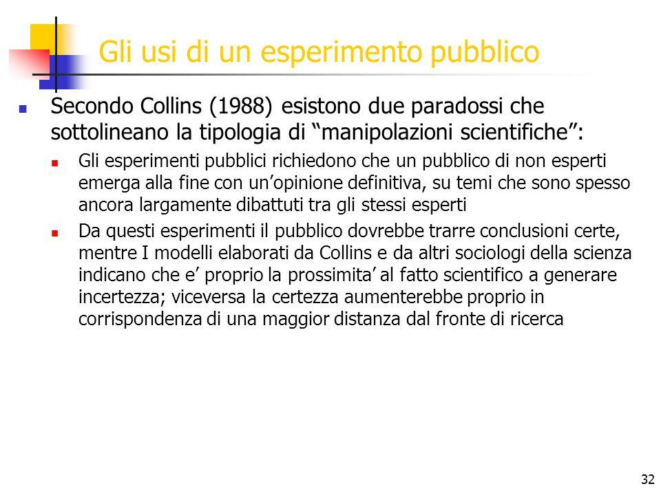 32 Gli usi di un esperimento pubblico Secondo Collins (1988) esistono due paradossi che sottolineano la tipologia di manipolazioni scientifiche: Gli e