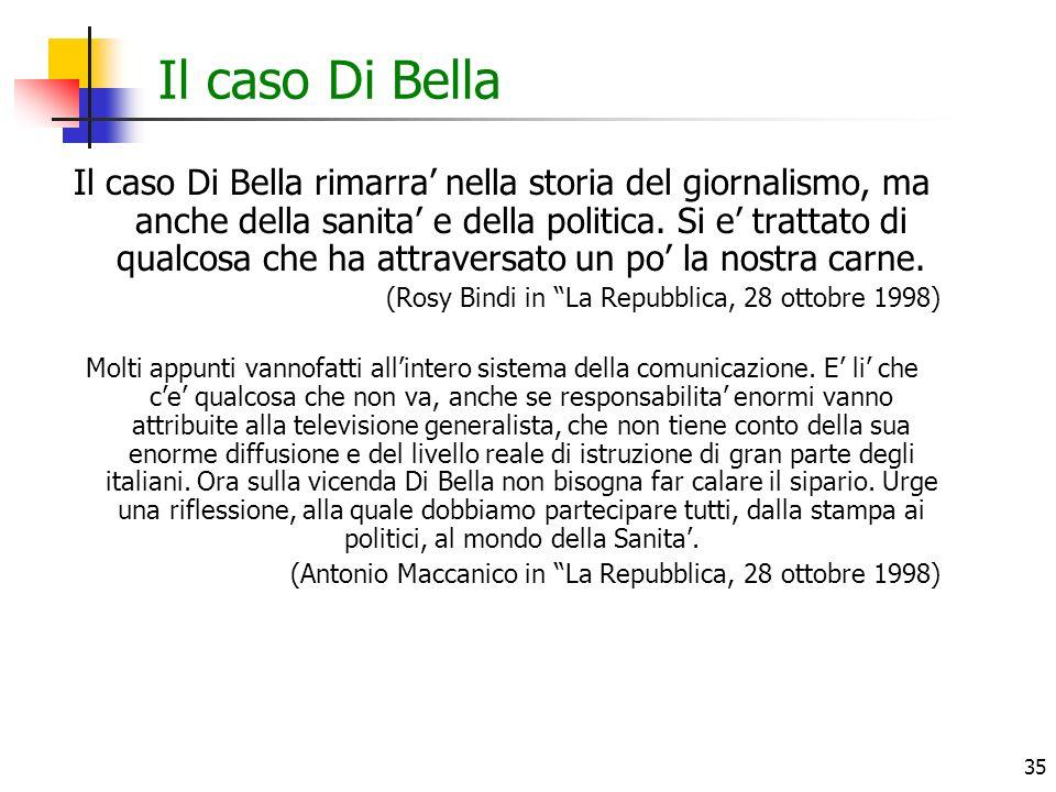 35 Il caso Di Bella Il caso Di Bella rimarra nella storia del giornalismo, ma anche della sanita e della politica. Si e trattato di qualcosa che ha at