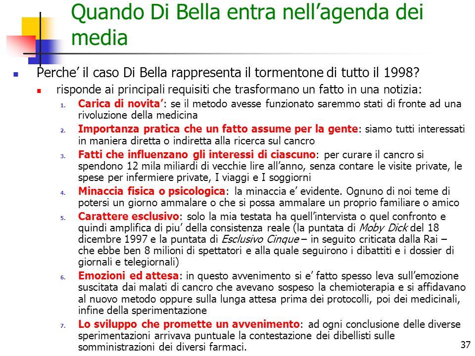 37 Quando Di Bella entra nellagenda dei media Perche il caso Di Bella rappresenta il tormentone di tutto il 1998? risponde ai principali requisiti che
