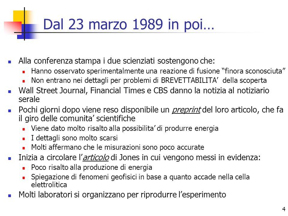 4 Dal 23 marzo 1989 in poi… Alla conferenza stampa i due scienziati sostengono che: Hanno osservato sperimentalmente una reazione di fusione finora sc