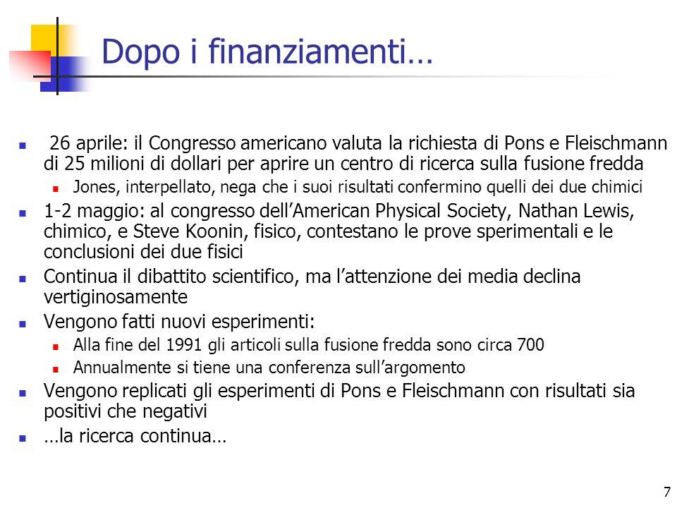 7 Dopo i finanziamenti… 26 aprile: il Congresso americano valuta la richiesta di Pons e Fleischmann di 25 milioni di dollari per aprire un centro di r