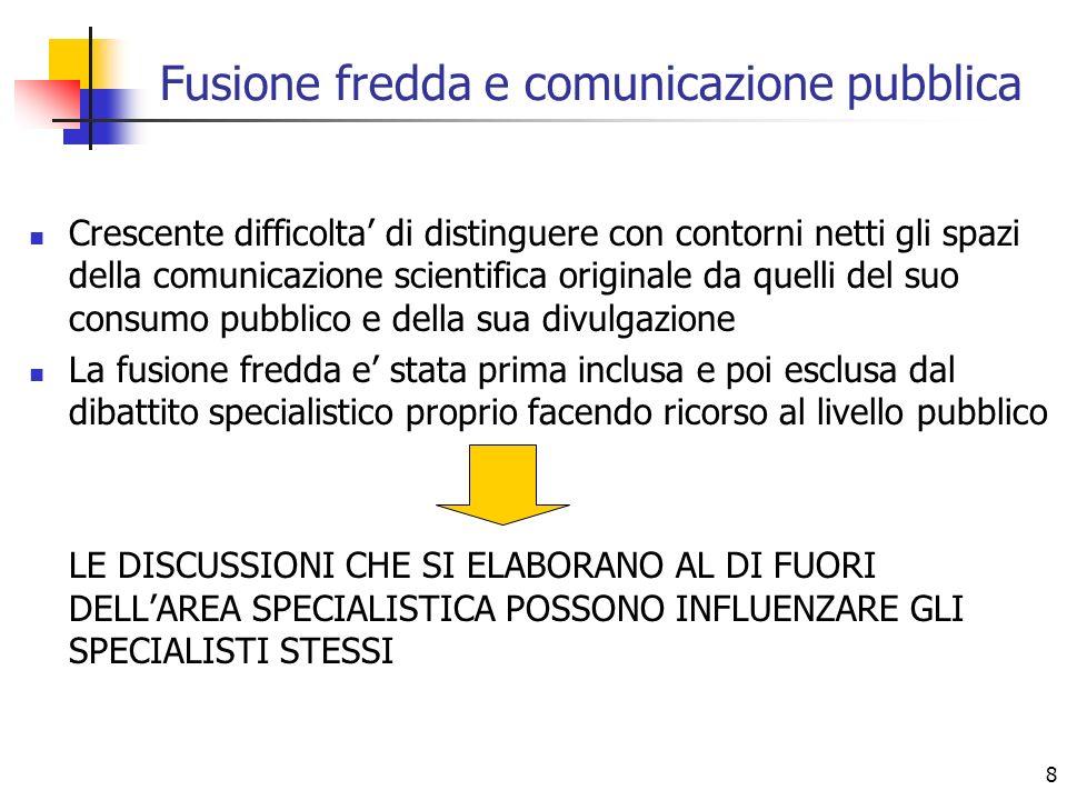 8 Fusione fredda e comunicazione pubblica Crescente difficolta di distinguere con contorni netti gli spazi della comunicazione scientifica originale d