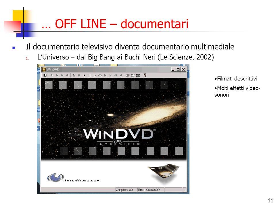 11 … OFF LINE – documentari Il documentario televisivo diventa documentario multimediale 1. LUniverso – dal Big Bang ai Buchi Neri (Le Scienze, 2002)