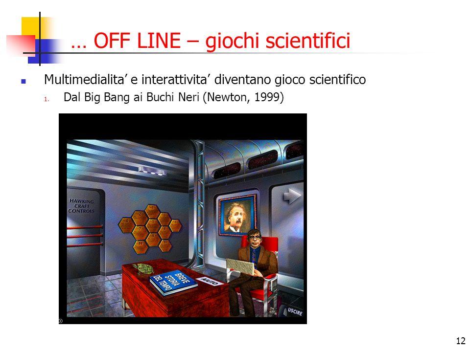 12 … OFF LINE – giochi scientifici Multimedialita e interattivita diventano gioco scientifico 1. Dal Big Bang ai Buchi Neri (Newton, 1999)