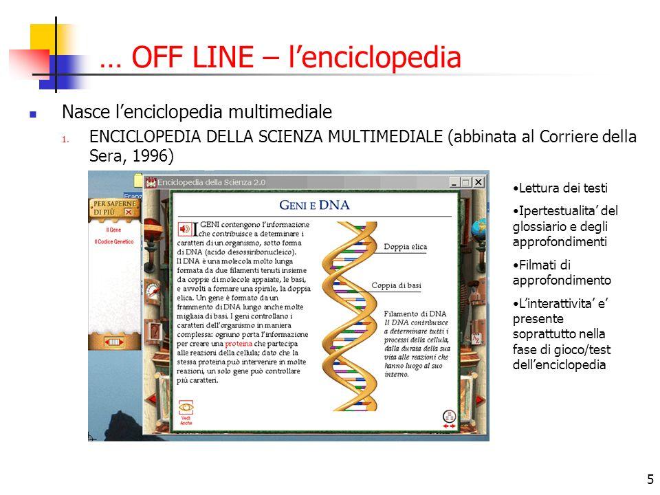 5 … OFF LINE – lenciclopedia Nasce lenciclopedia multimediale 1. ENCICLOPEDIA DELLA SCIENZA MULTIMEDIALE (abbinata al Corriere della Sera, 1996) Lettu