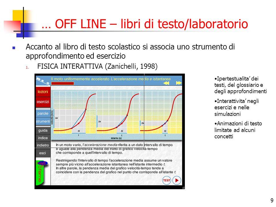 9 … OFF LINE – libri di testo/laboratorio Accanto al libro di testo scolastico si associa uno strumento di approfondimento ed esercizio 1.