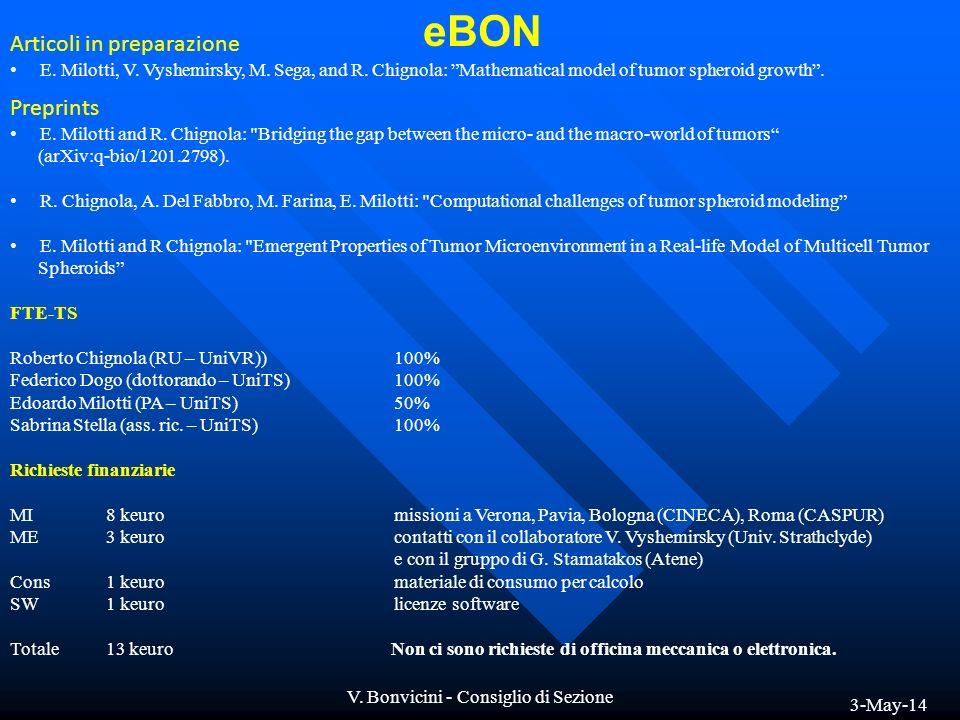 3-May-14 V.Bonvicini - Consiglio di Sezione Articoli in preparazione E.