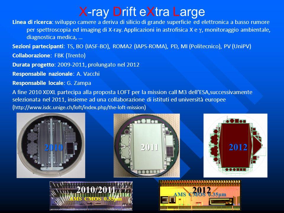 X-ray Drift eXtra Large Linea di ricerca: sviluppo camere a deriva di silicio di grande superficie ed elettronica a basso rumore per spettroscopia ed imaging di X-ray.