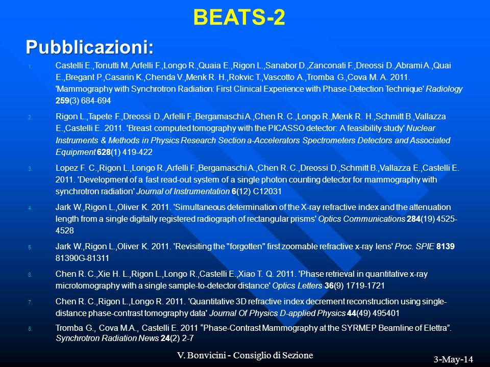 3-May-14 V.Bonvicini - Consiglio di Sezione BEATS-2 Pubblicazioni: 1.