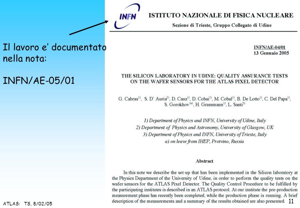 ATLAS: TS, 8/02/05 Il lavoro e documentato nella nota: INFN/AE-05/01 11