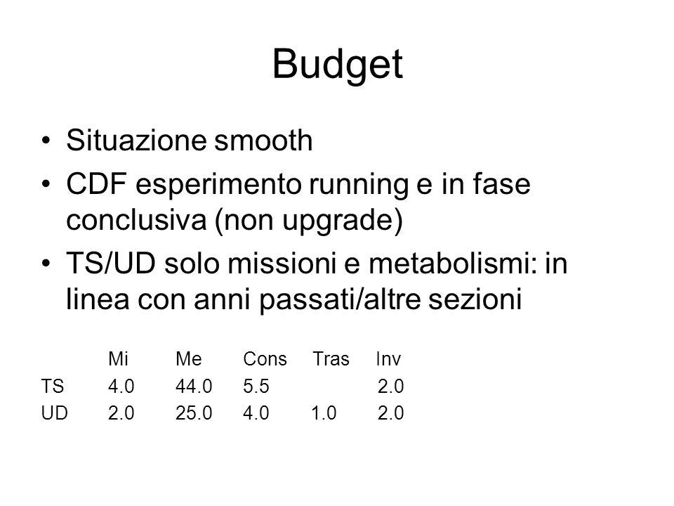 Budget Situazione smooth CDF esperimento running e in fase conclusiva (non upgrade) TS/UD solo missioni e metabolismi: in linea con anni passati/altre sezioni MiMe Cons Tras Inv TS 4.0 44.0 5.5 2.0 UD 2.0 25.0 4.0 1.0 2.0