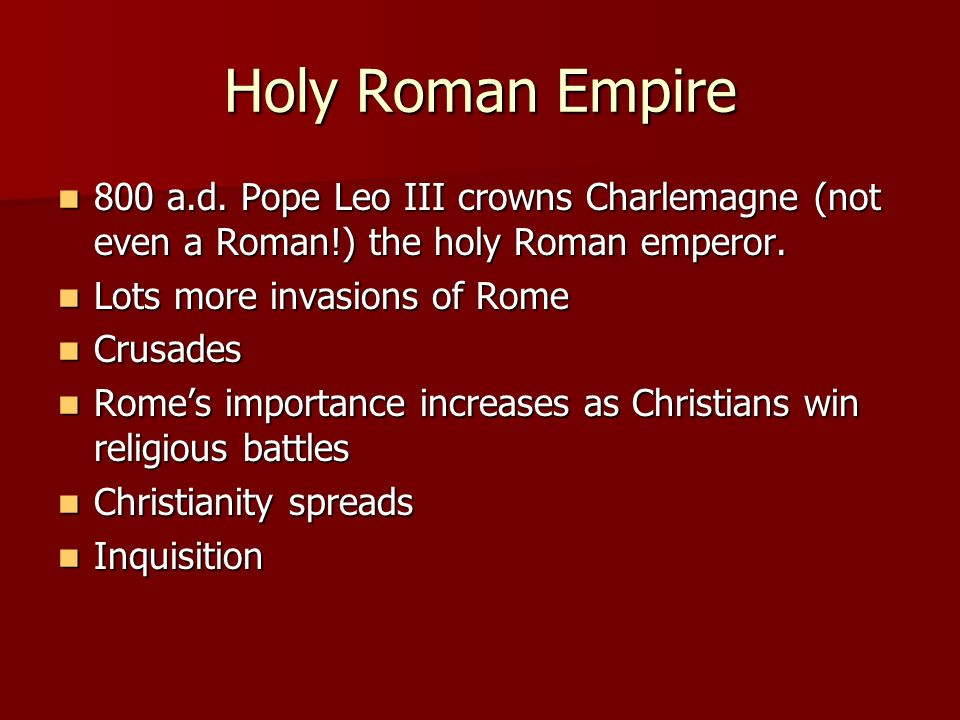 Holy Roman Empire 800 a.d.