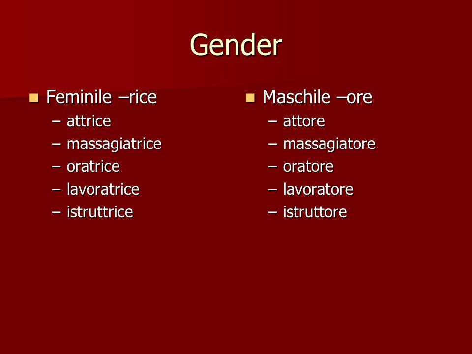 Gender Feminile –rice Feminile –rice –attrice –massagiatrice –oratrice –lavoratrice –istruttrice Maschile –ore Maschile –ore –attore –massagiatore –or