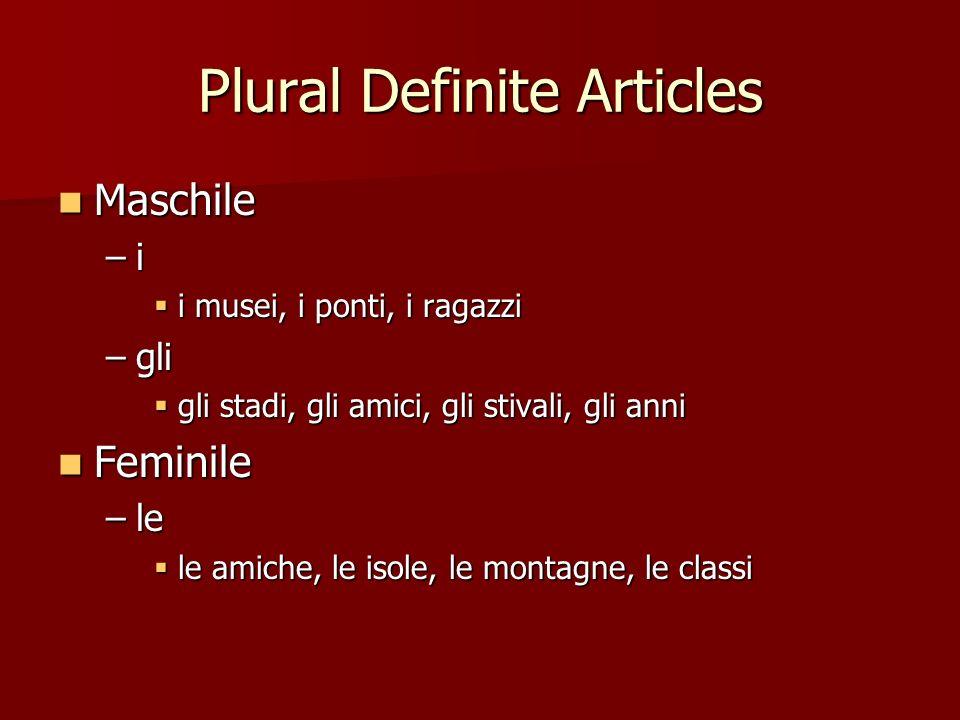 Plural Definite Articles Maschile Maschile –i i musei, i ponti, i ragazzi i musei, i ponti, i ragazzi –gli gli stadi, gli amici, gli stivali, gli anni