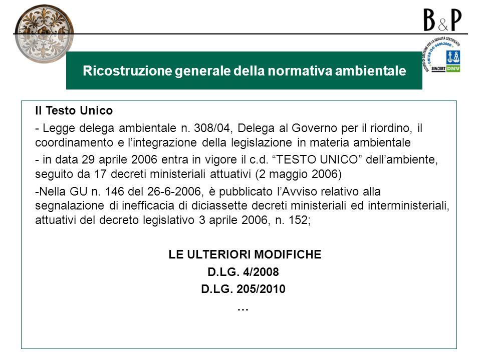 Ricostruzione generale della normativa ambientale Il Testo Unico - Legge delega ambientale n.
