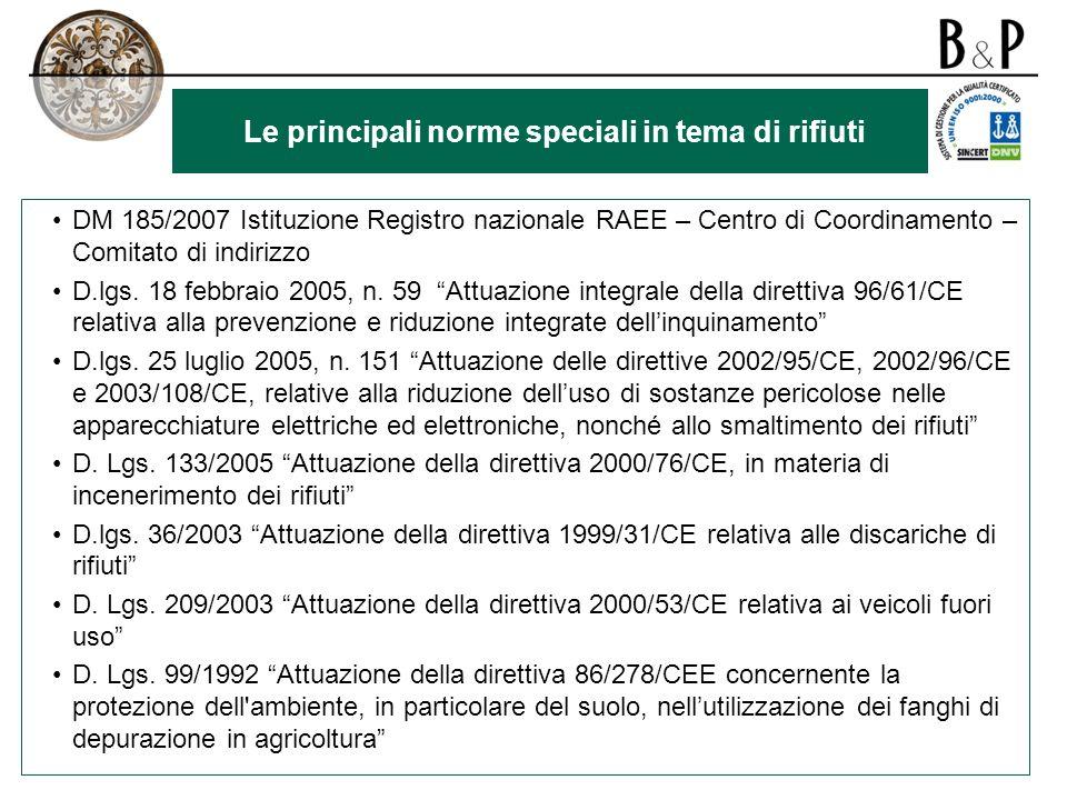 Le principali norme speciali in tema di rifiuti DM 185/2007 Istituzione Registro nazionale RAEE – Centro di Coordinamento – Comitato di indirizzo D.lgs.