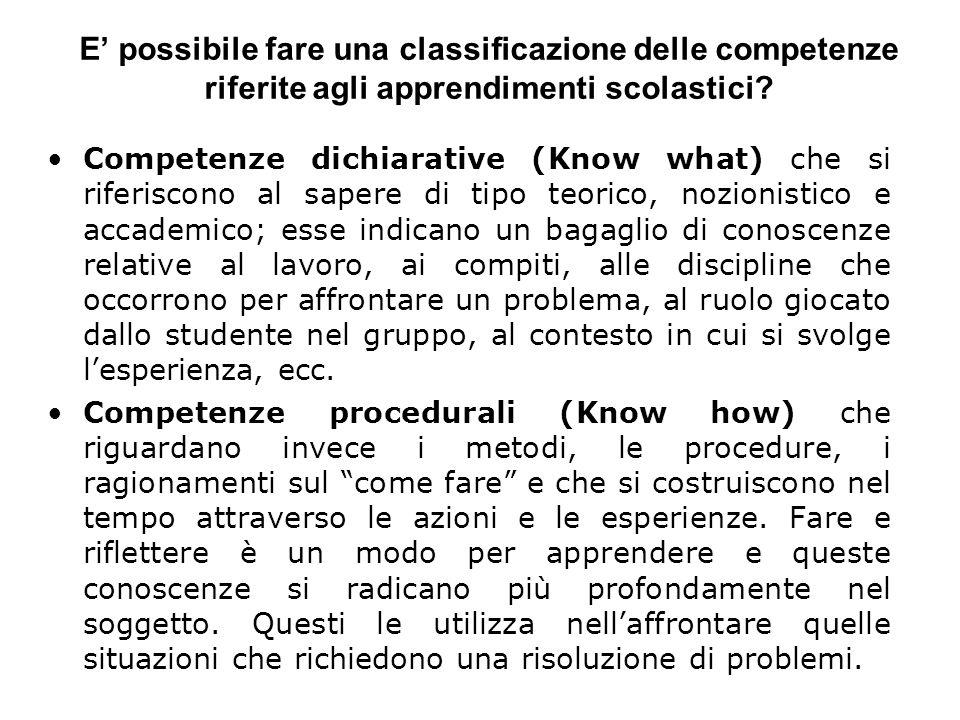 E possibile fare una classificazione delle competenze riferite agli apprendimenti scolastici? Competenze dichiarative (Know what) che si riferiscono a