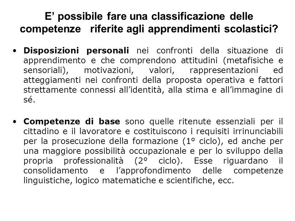 E possibile fare una classificazione delle competenze riferite agli apprendimenti scolastici? Disposizioni personali nei confronti della situazione di