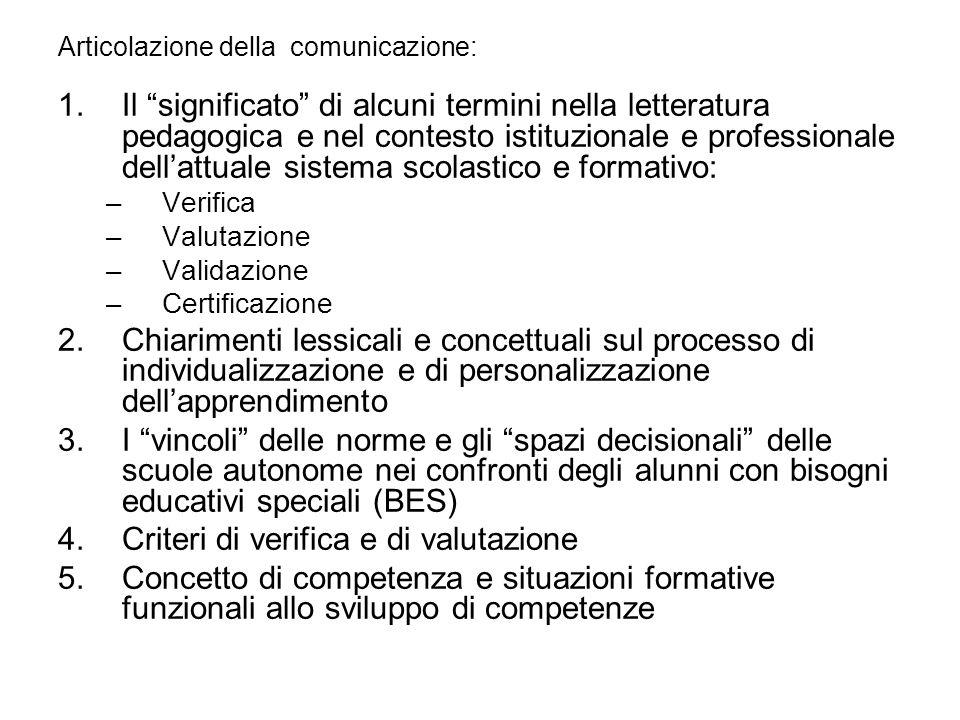 Articolazione della comunicazione: 1.Il significato di alcuni termini nella letteratura pedagogica e nel contesto istituzionale e professionale dellat