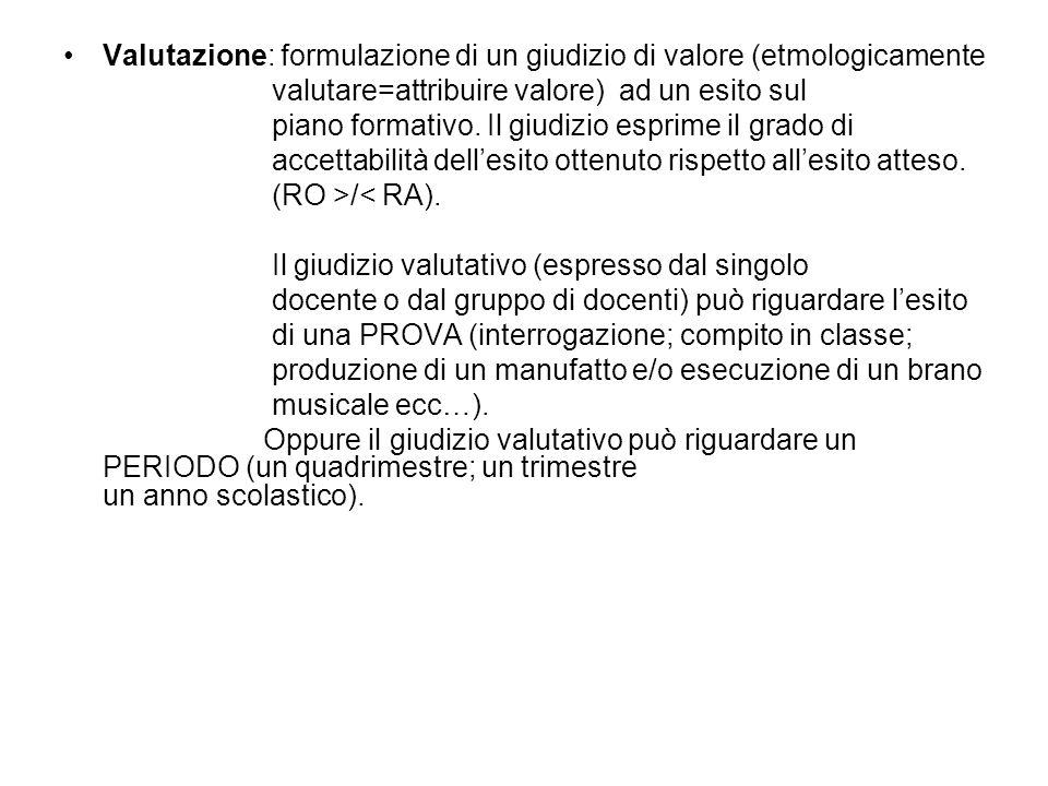 Valutazione: formulazione di un giudizio di valore (etmologicamente valutare=attribuire valore) ad un esito sul piano formativo. Il giudizio esprime i