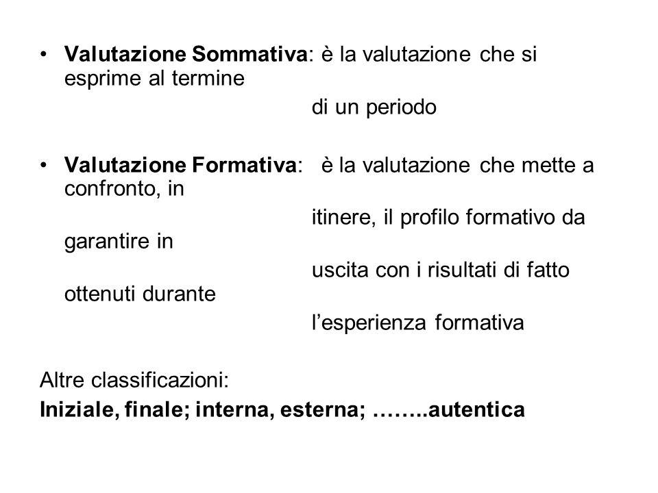 Valutazione Sommativa: è la valutazione che si esprime al termine di un periodo Valutazione Formativa: è la valutazione che mette a confronto, in itin