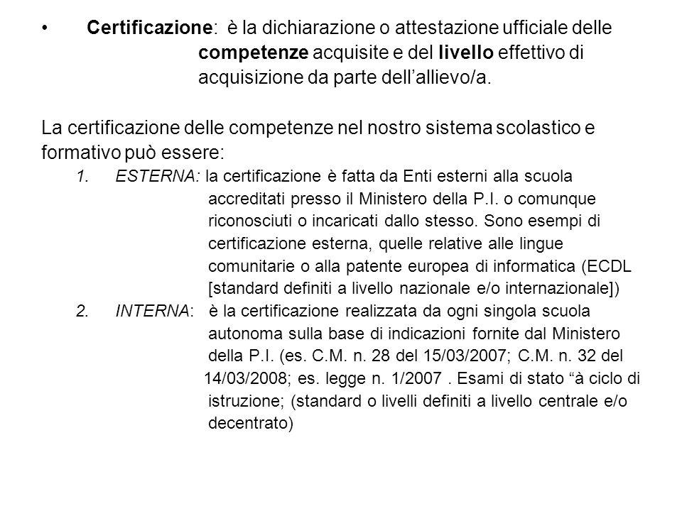 Certificazione: è la dichiarazione o attestazione ufficiale delle competenze acquisite e del livello effettivo di acquisizione da parte dellallievo/a.