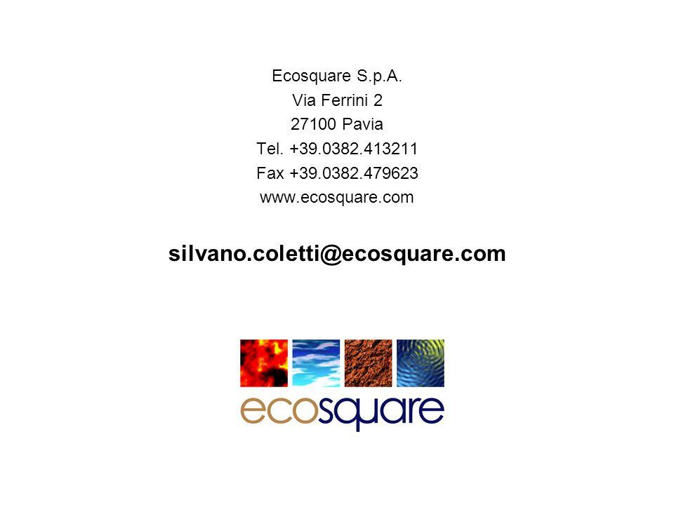 Ecosquare S.p.A. Via Ferrini 2 27100 Pavia Tel. +39.0382.413211 Fax +39.0382.479623 www.ecosquare.com silvano.coletti@ecosquare.com