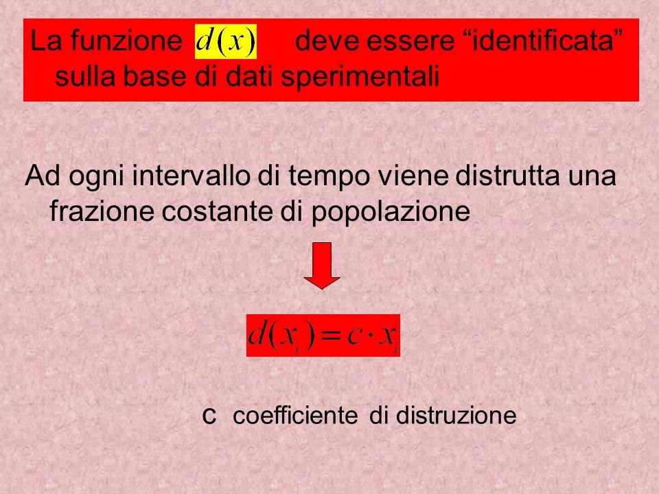 La funzione deve essere identificata sulla base di dati sperimentali c coefficiente di distruzione Ad ogni intervallo di tempo viene distrutta una fra