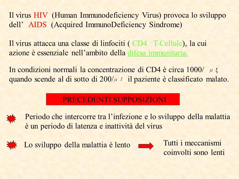 Il virus HIV (Human Immunodeficiency Virus) provoca lo sviluppo dell AIDS (Acquired ImmunoDeficiency Sindrome) Il virus attacca una classe di linfocit